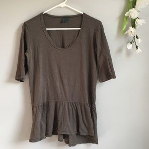 Anthropologie Left Of Center Ruffle Tunic Tee